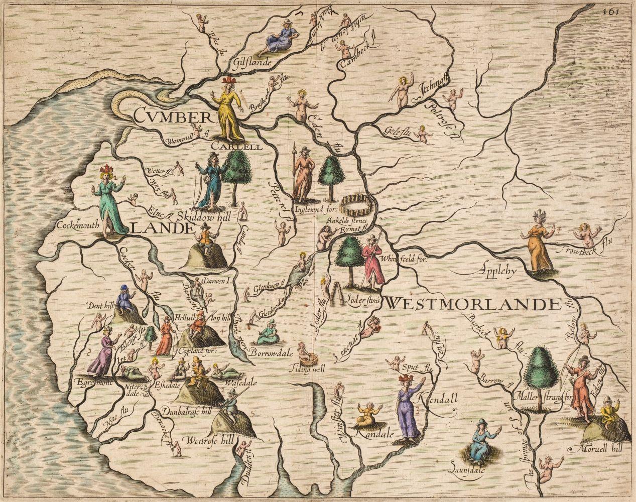 Cumberland & Westmorland. Drayton (Michael), Untitled allegorical map, 1622