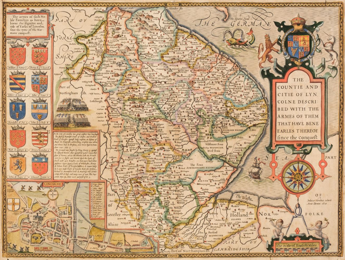 Lincolnshire. Speed (John), The Countie and Citie of Lincolne Described..., circa 1627