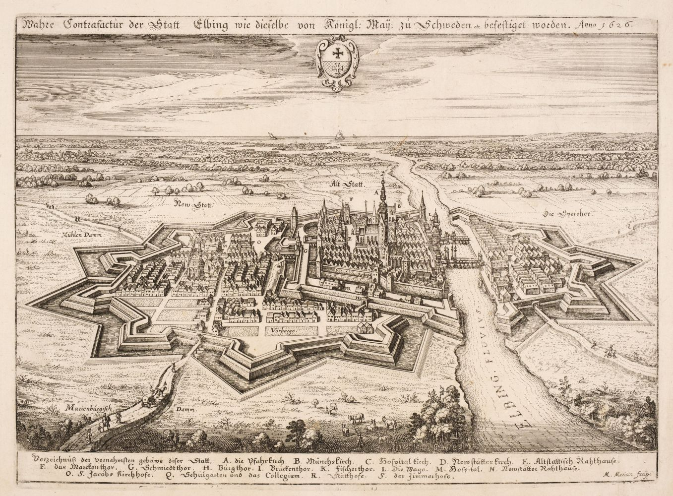 Poland. Merian (Matthaus), Wahre Contrafactur der Statt Elbing..., circa 1640