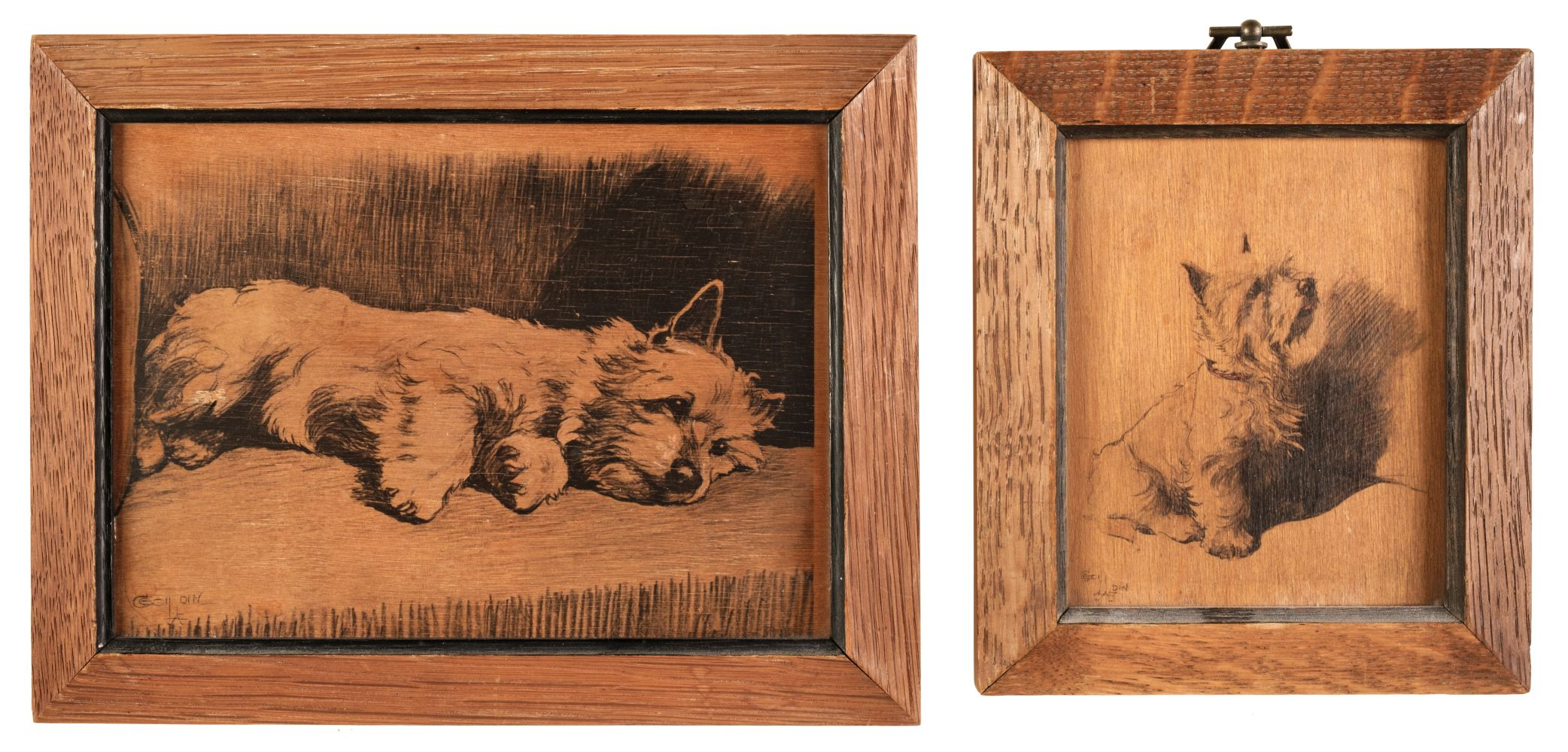 * Aldin (Cecil Charles Windsor, 1870 - 1935). Two studies of a West Highland Terrier