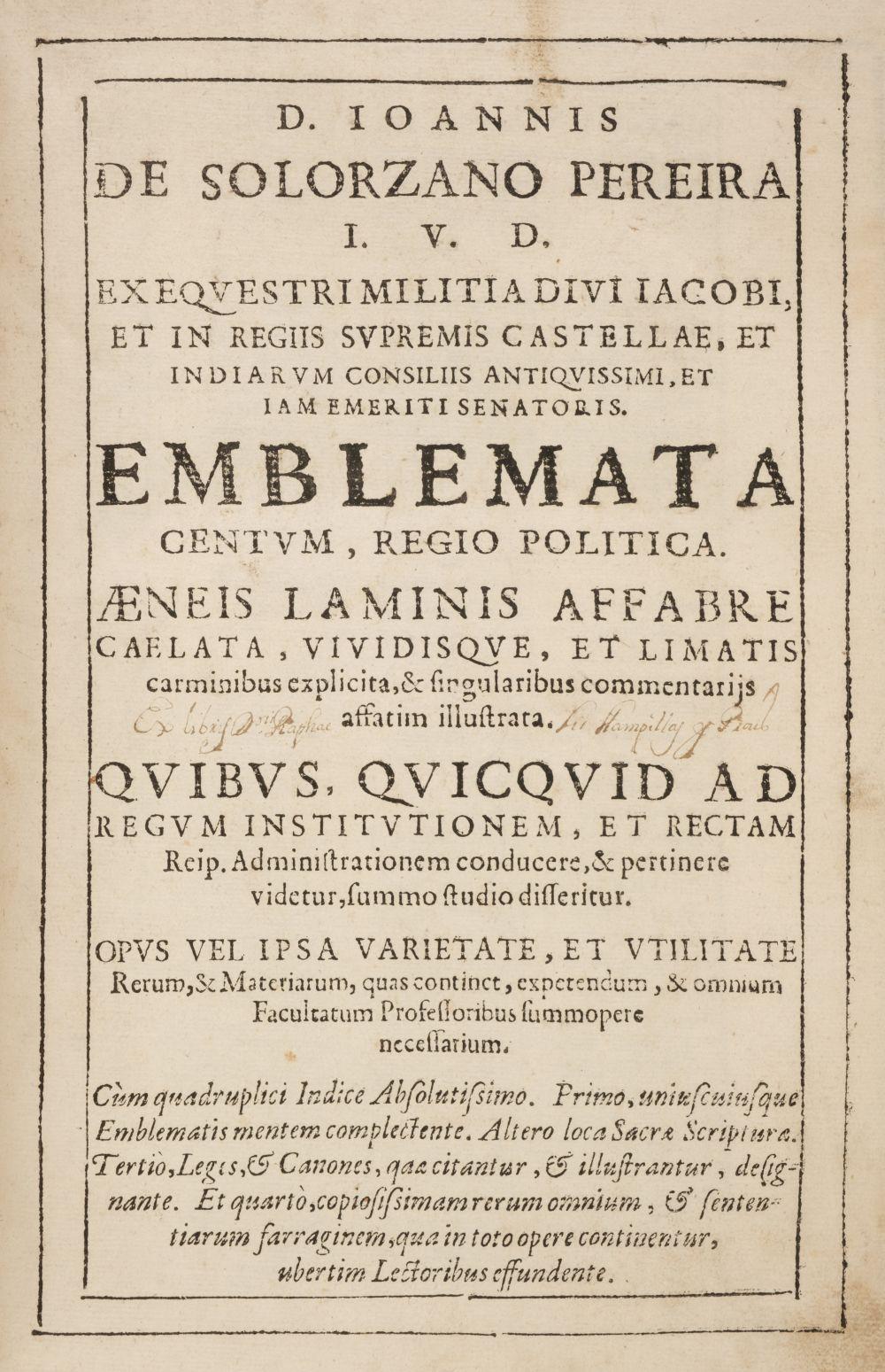Solorzano Pereira (Juan de). Emblemata centum, regio politica, Madrid, 1653 - Image 2 of 10