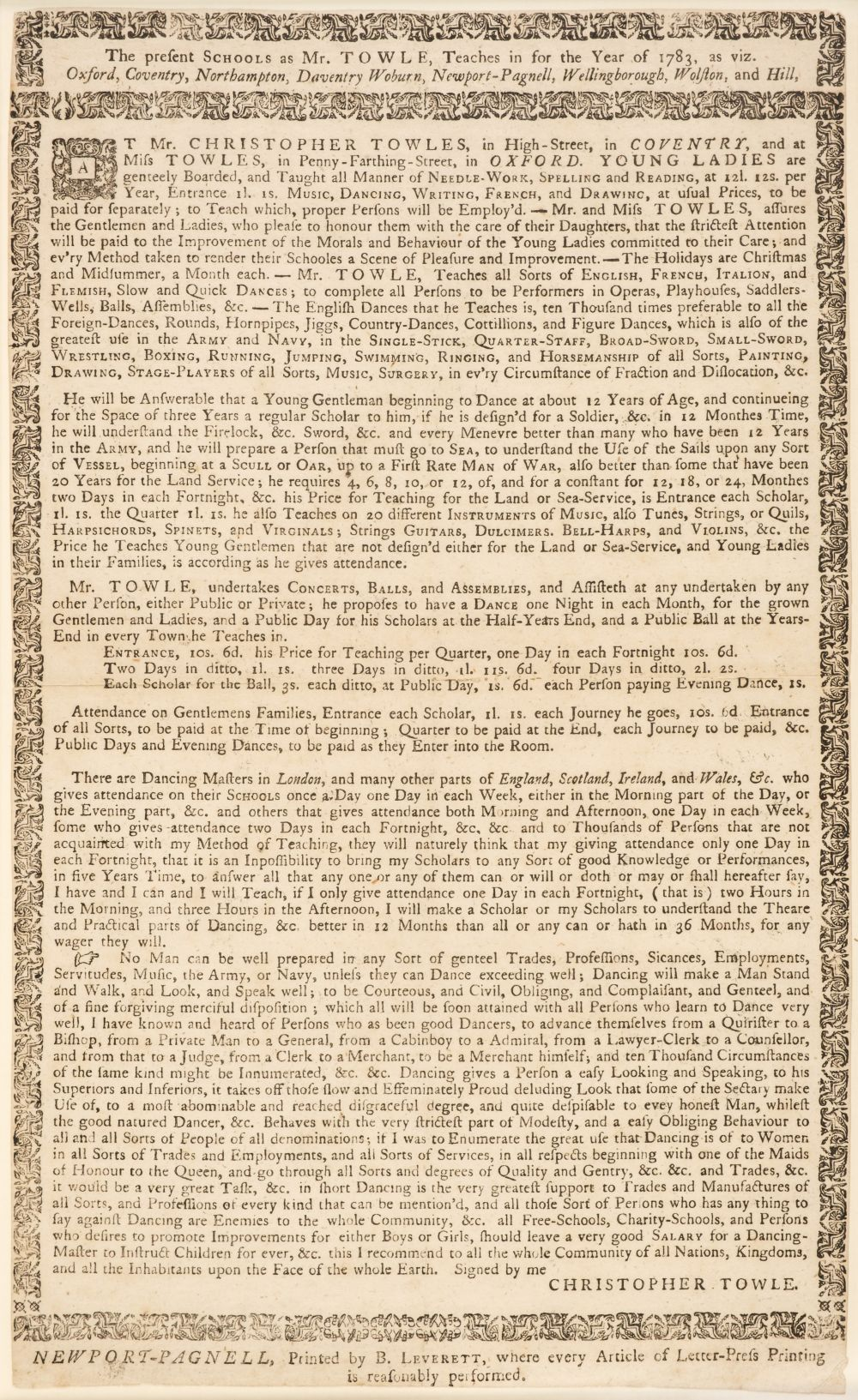 Broadside - Towle (Christopher). The present schools as Mr. Towle, teaches in for the year of 1783