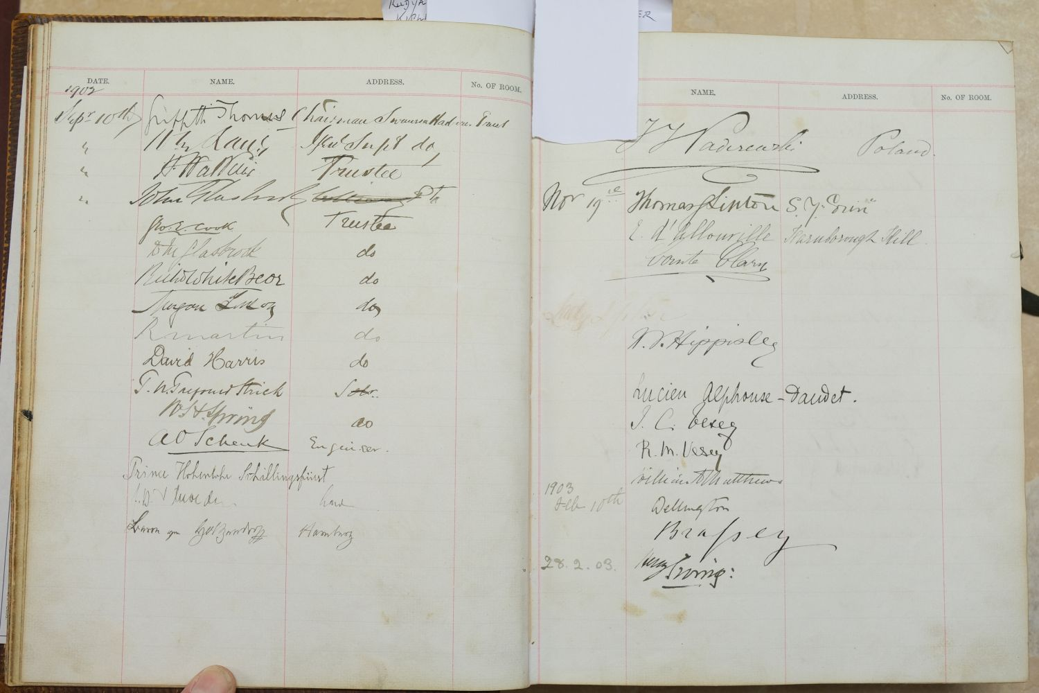 Visitors' Book. South Western Hotel, Southampton. A visitors' book, circa 1899-1912 - Image 11 of 16
