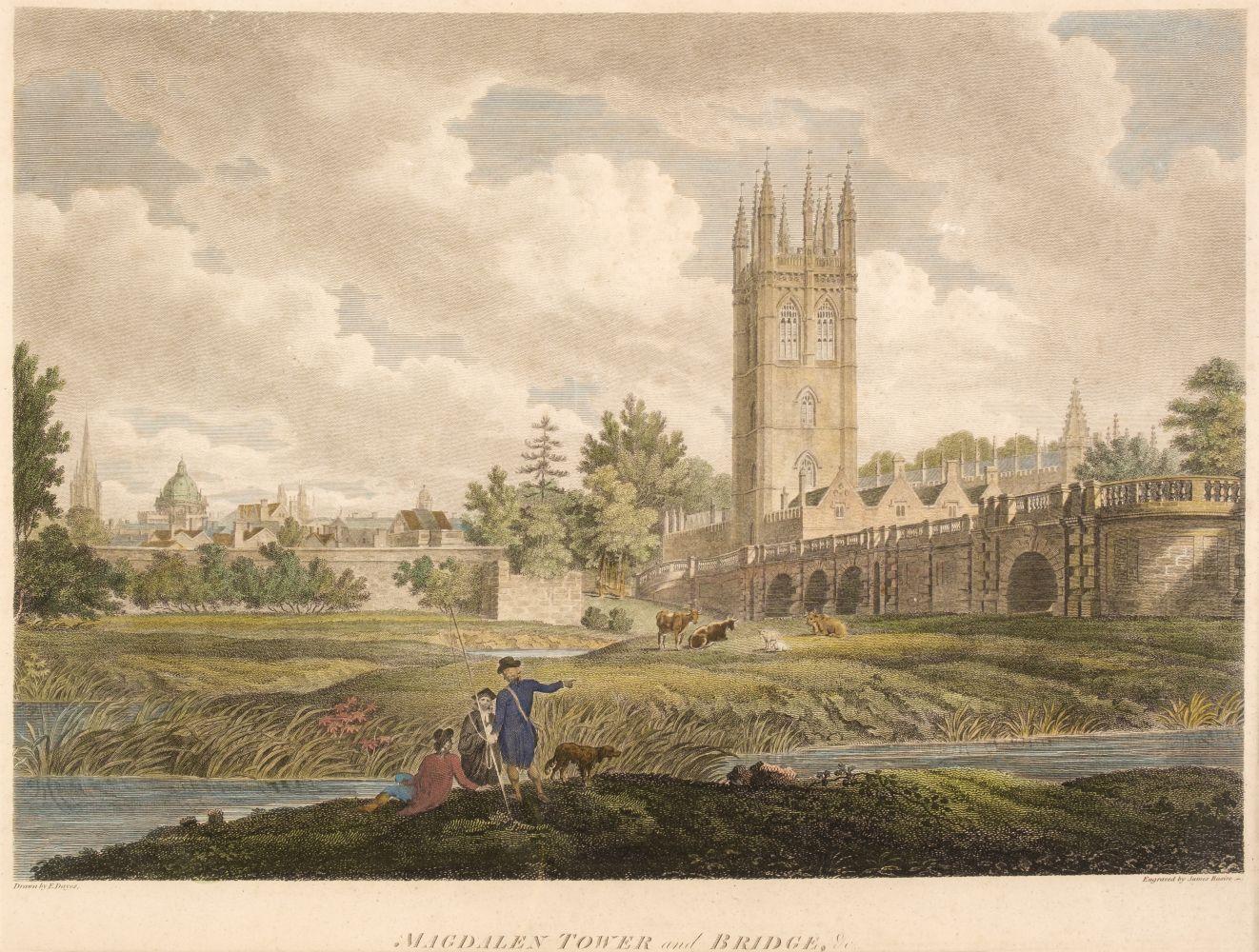 * Oxford. Basire (James), Magdalen Tower and Bridge, circa 1810