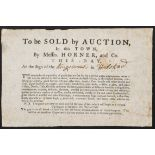 Auction flyer. To be Sold at Auction in this Town, by Messrs. Horner, and Co., c. 1800