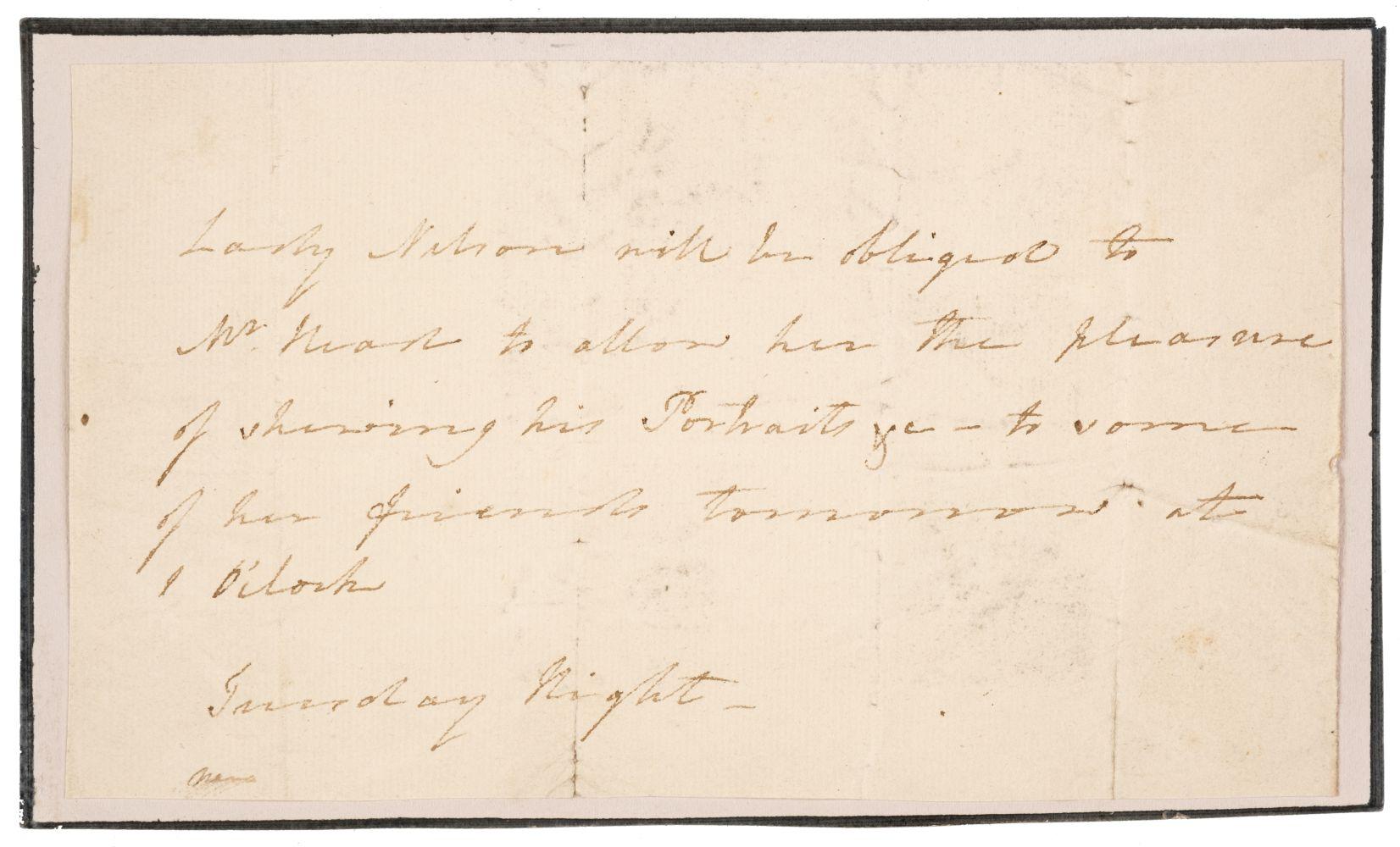 * Nelson (Frances, Viscountess Nelson, 1761-1831). Autograph Letter (third person)