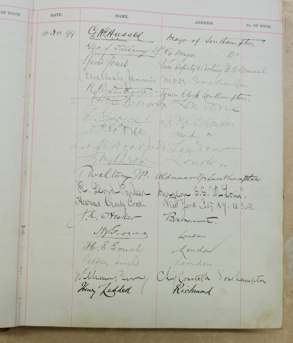 Visitors' Book. South Western Hotel, Southampton. A visitors' book, circa 1899-1912 - Image 3 of 16