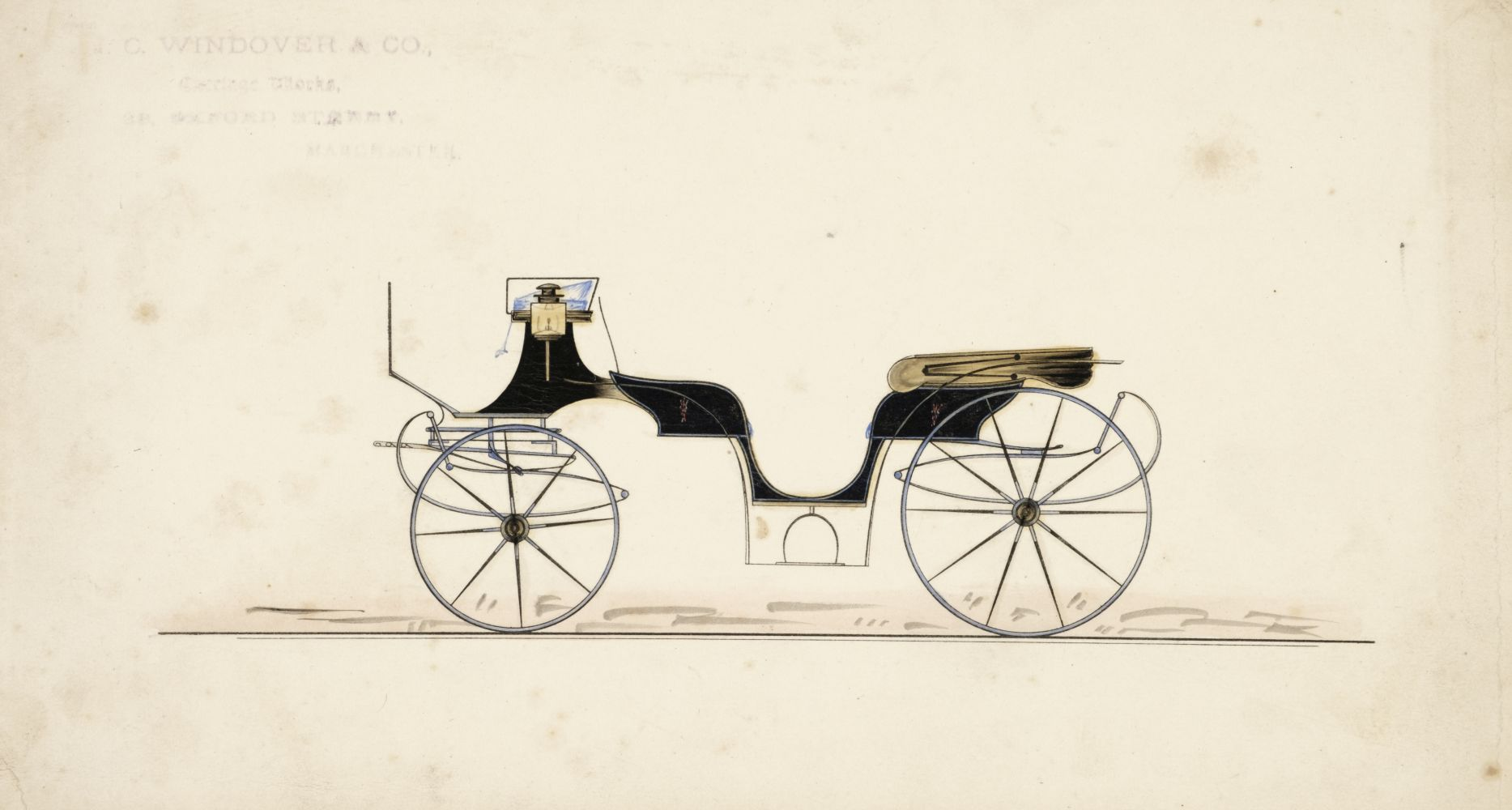 * Coaching. Four watercolours of coach designs, mid 19th century