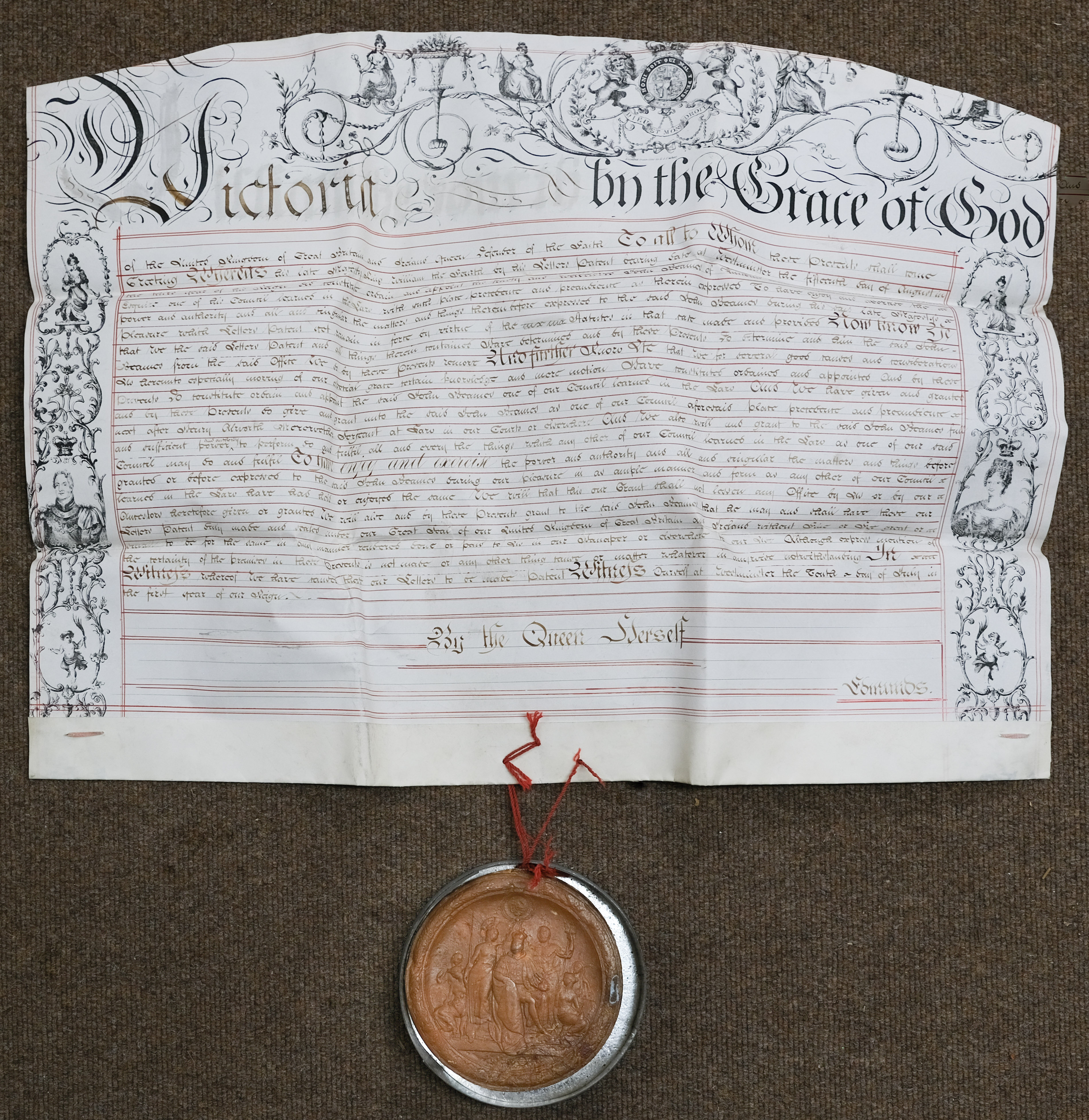 * Victorian Letters Patent. A commission by letters patent for John Bearnes, 1837