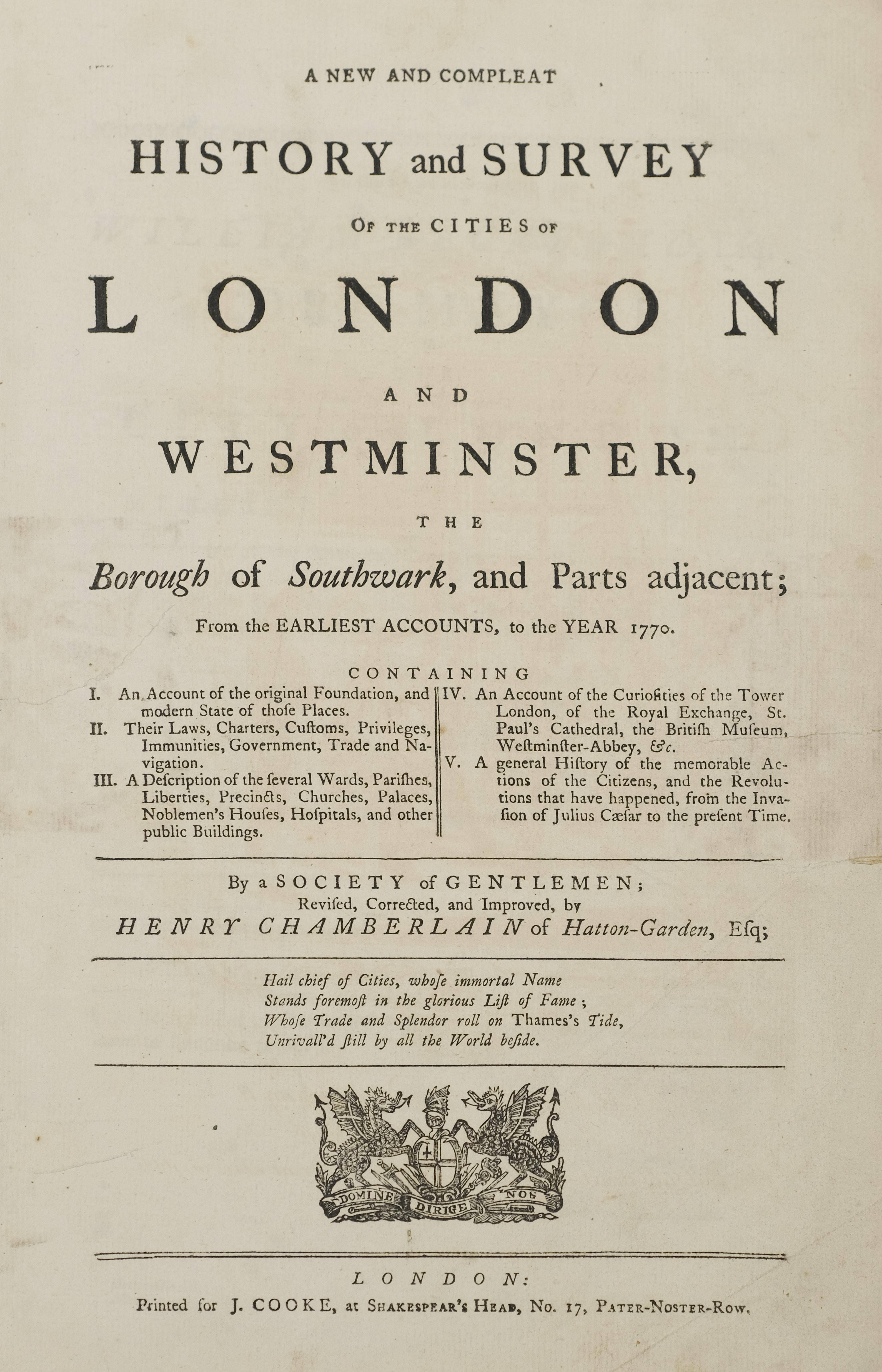 Chamberlain (Henry). A New and Compleat History of the Cities of London and Westminster, [1770]