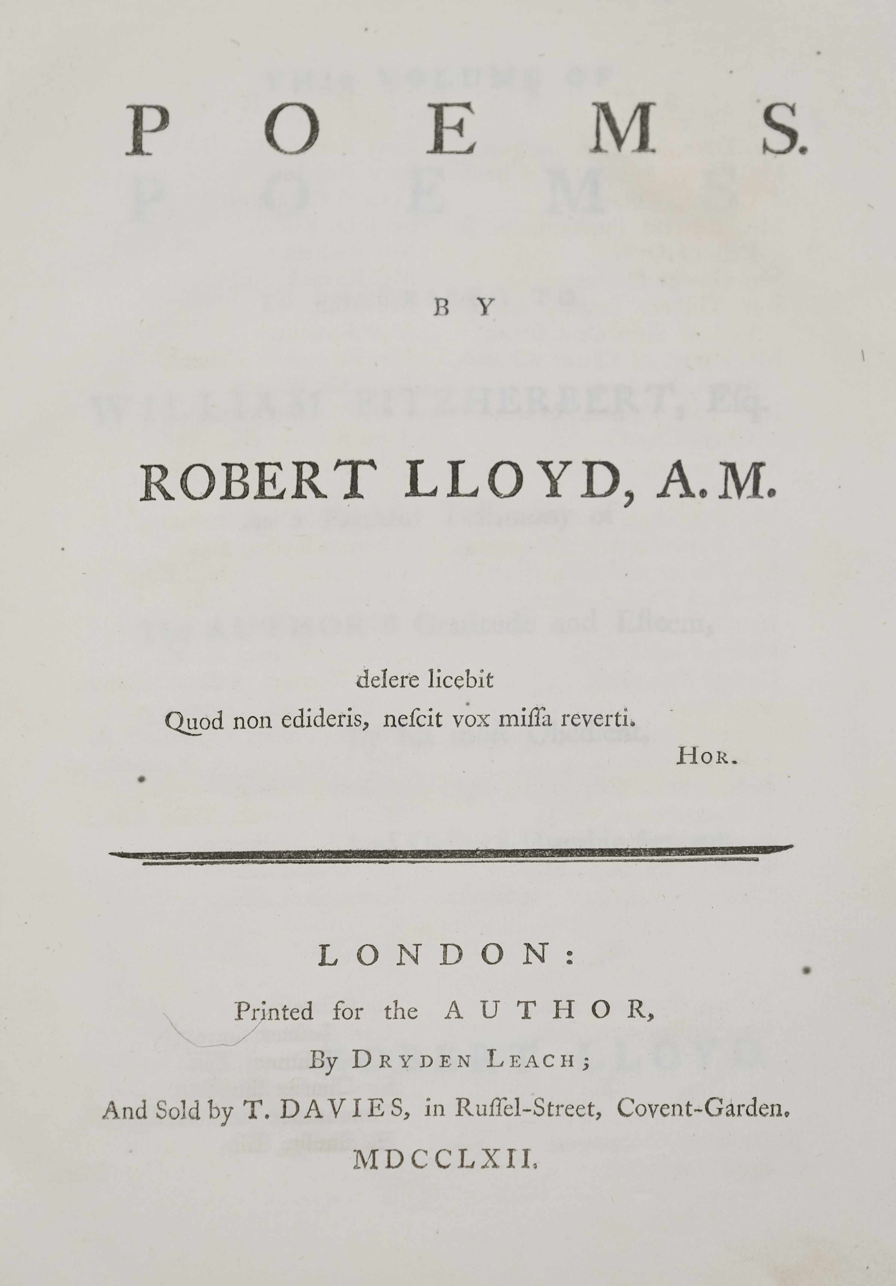 Lloyd (Robert). Poems, London: Printed for the Author, 1762
