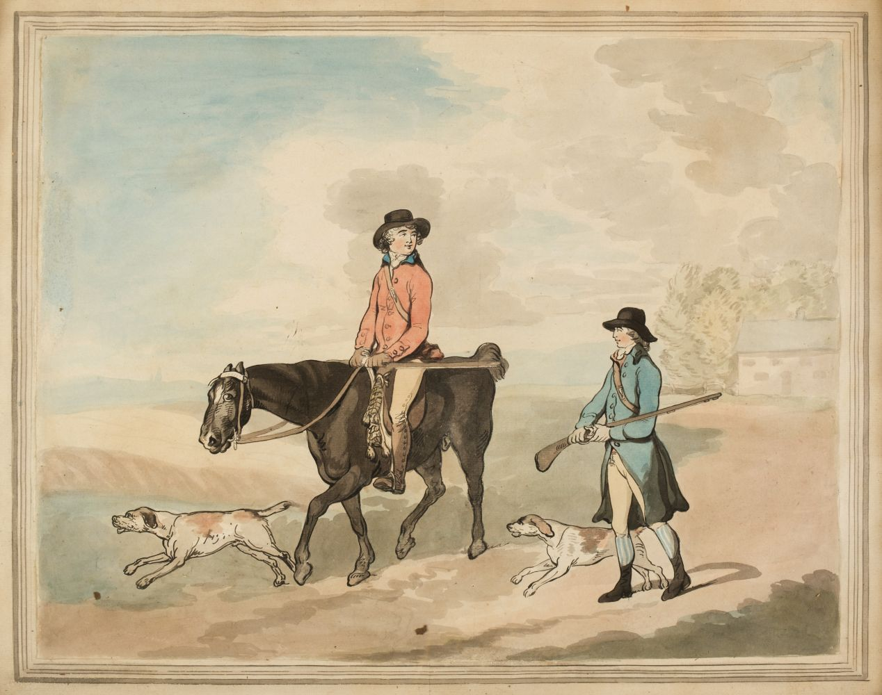 * Rowlandson (Thomas, style of). Sportsmen departing for a days shooting, circa 1800