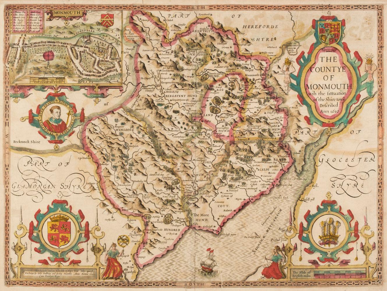 Wales. Speed (John), Five county maps, circa 1627