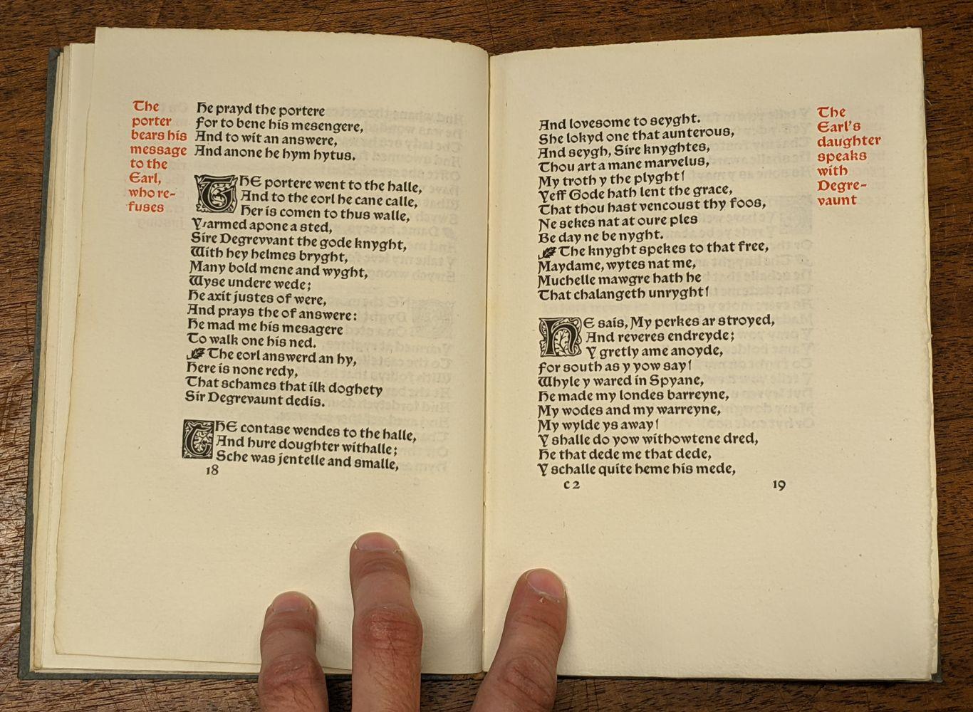Kelmscott Press. The Romance of Sir Degrevant, 1896 - Image 6 of 8