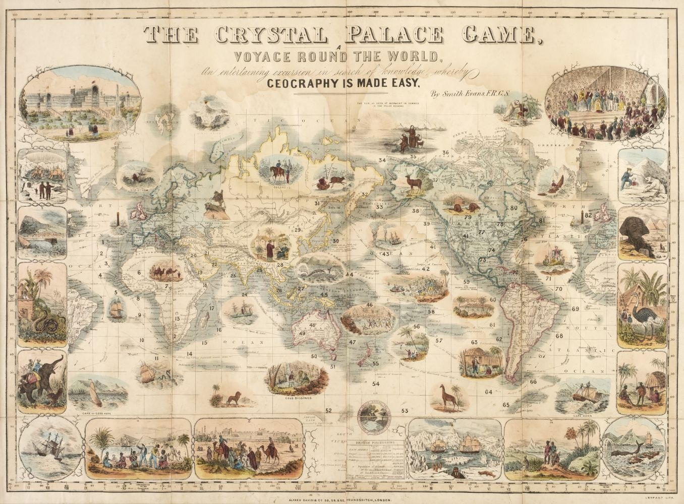 * World Map Board Game. The Crystal Palace Game, published by Alfred Davis & Co., [1855?]