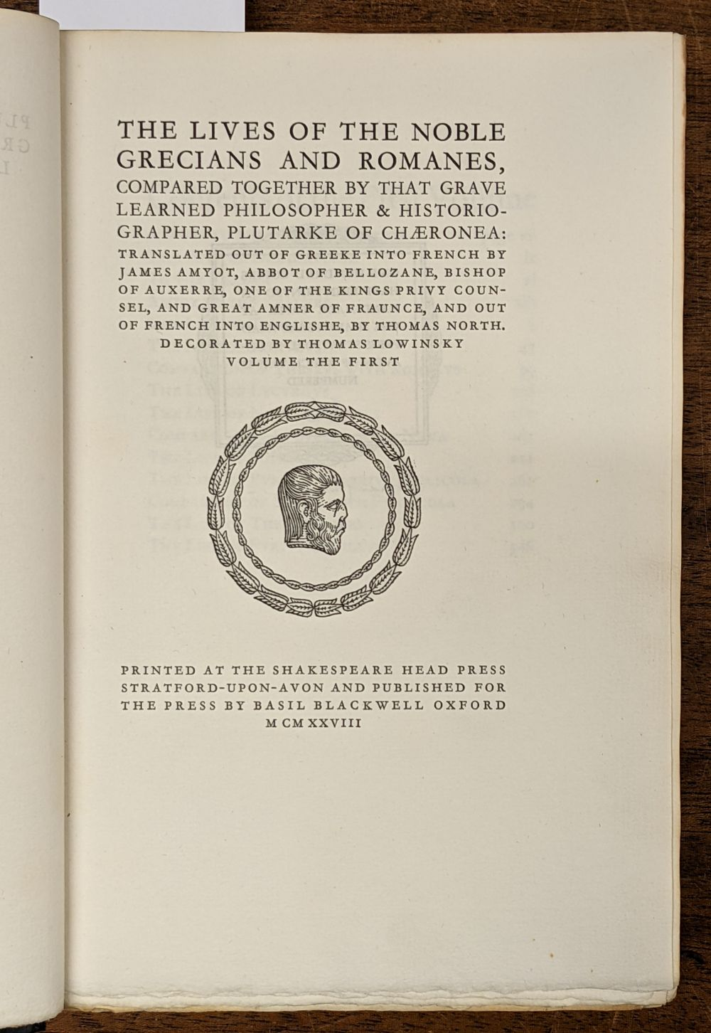 Shakespeare Head Press. Lives of the Noble Grecians and Romanes, 1928 - Image 11 of 13