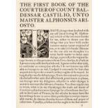 Essex House Press. The Courtyer of Count Baldessar Castilio, 1900