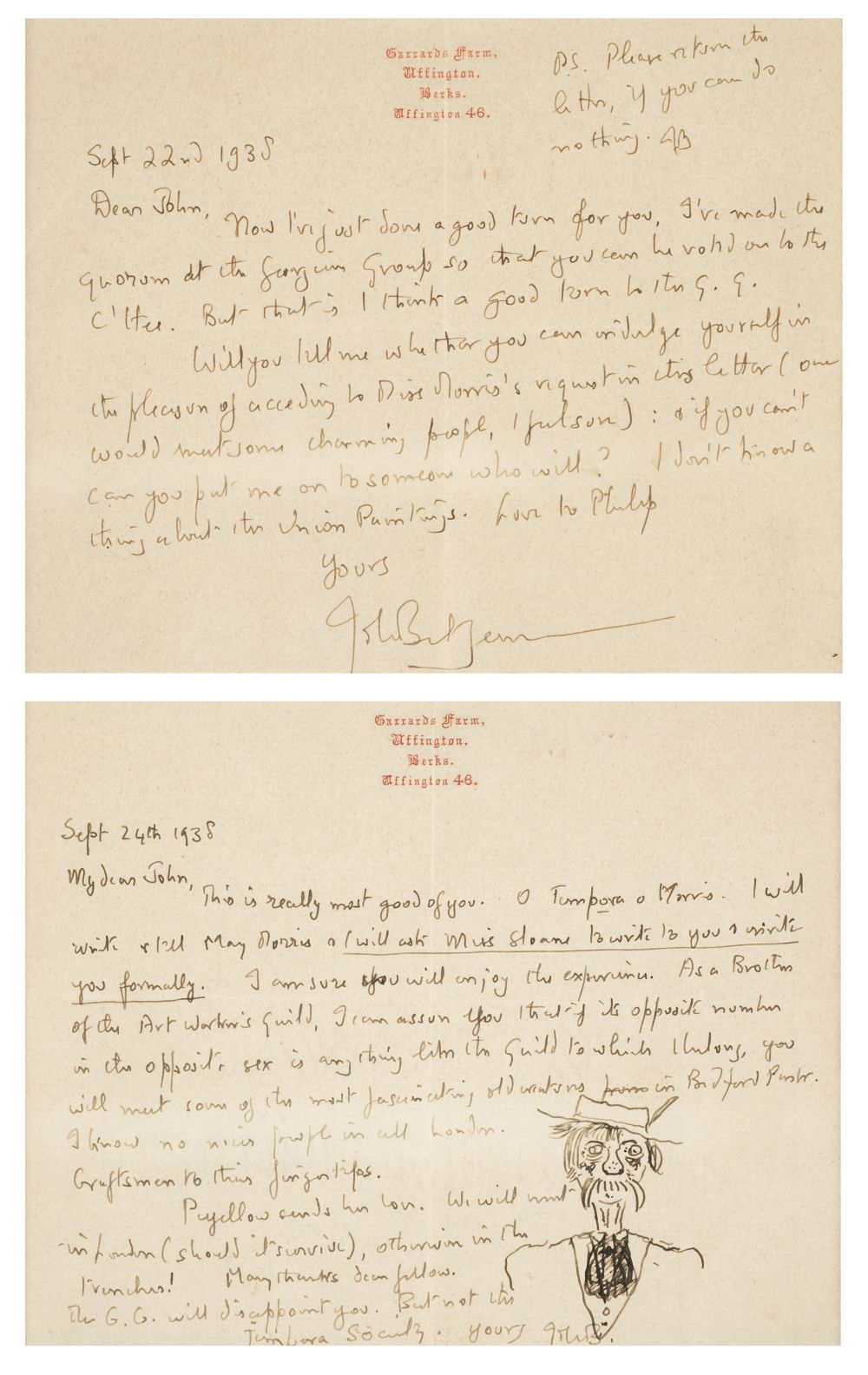 * Betjeman (John). Two autograph letters signed, 1938, with an original caricature