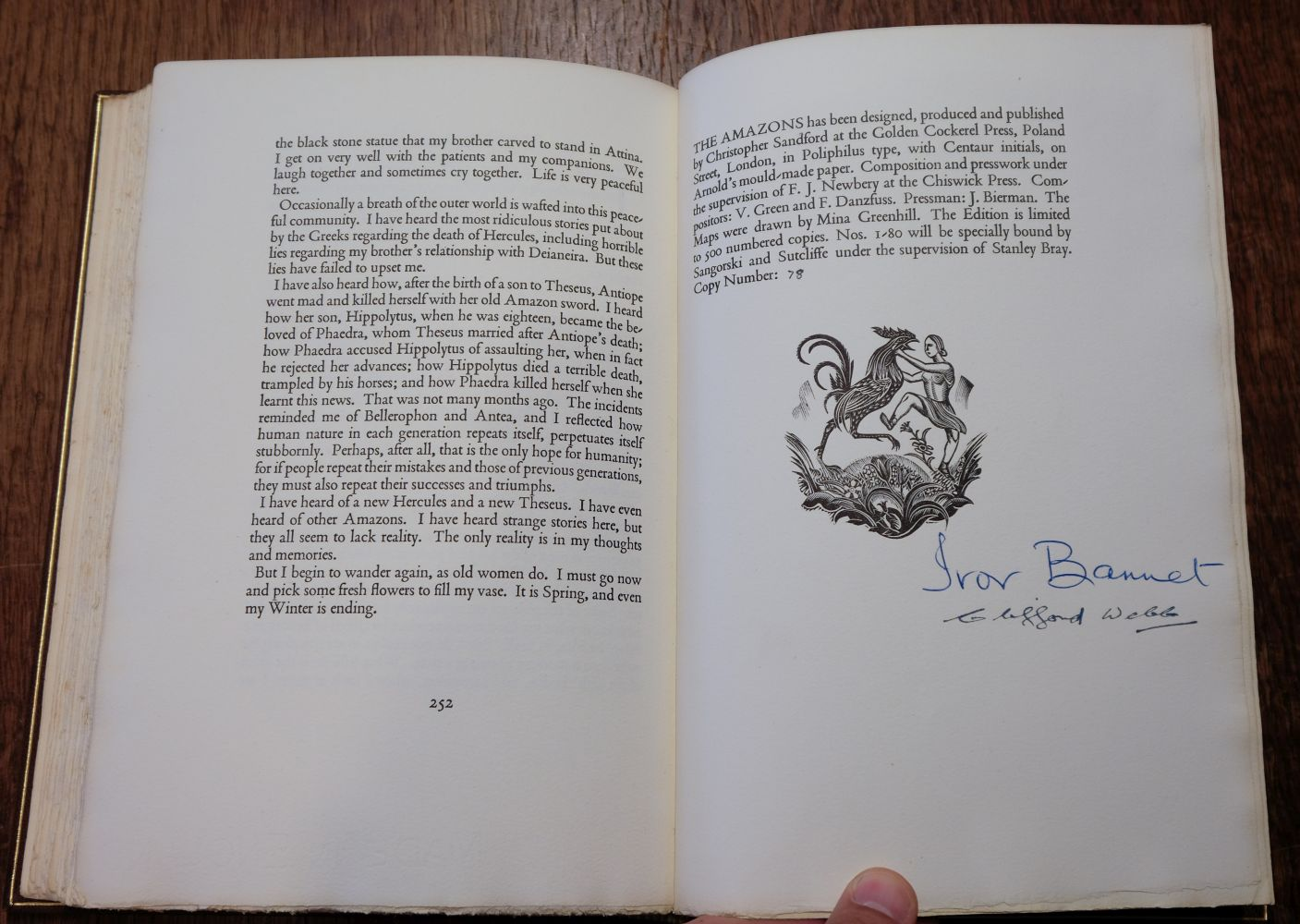 Golden Cockerel Press. The Amazons, A Novel by Ivor Bannet, 1948, signed in special binding - Image 7 of 8
