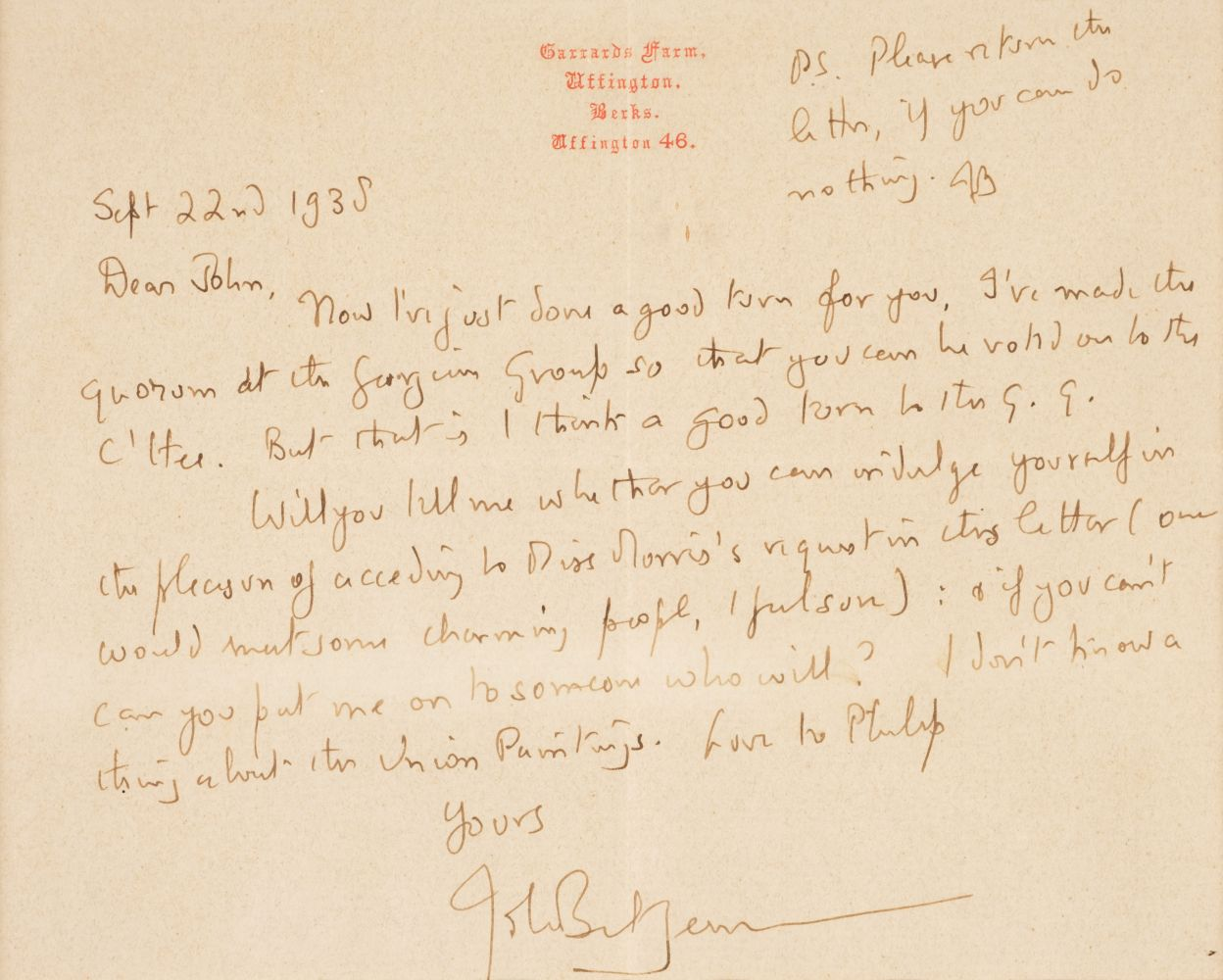 * Betjeman (John). Two autograph letters signed, 1938, with an original caricature - Image 2 of 3