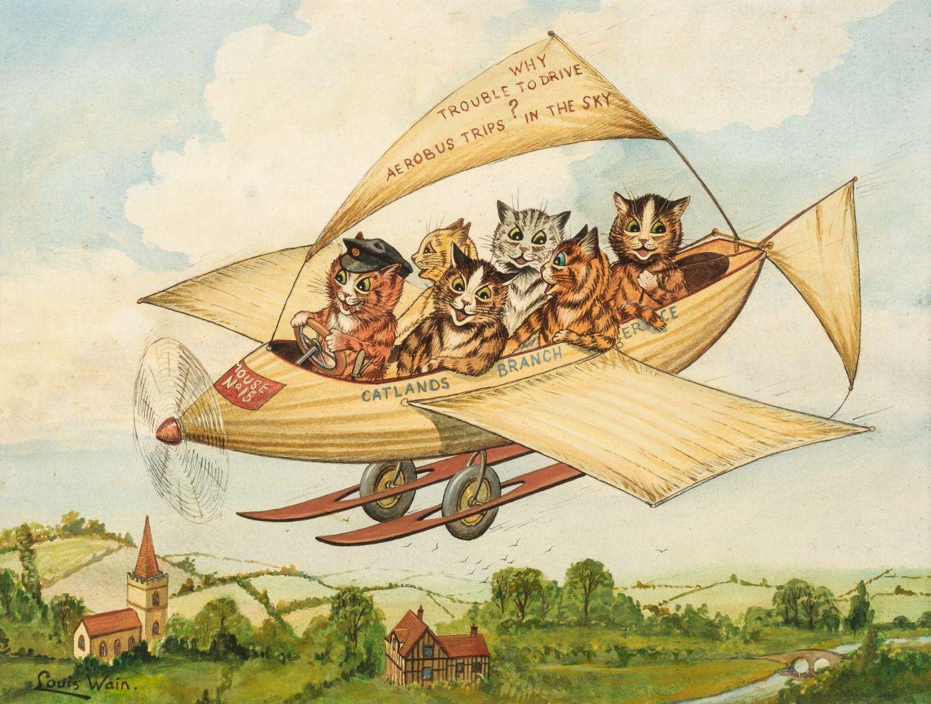 * Wain (Louis, 1860-1939). Flying Cats