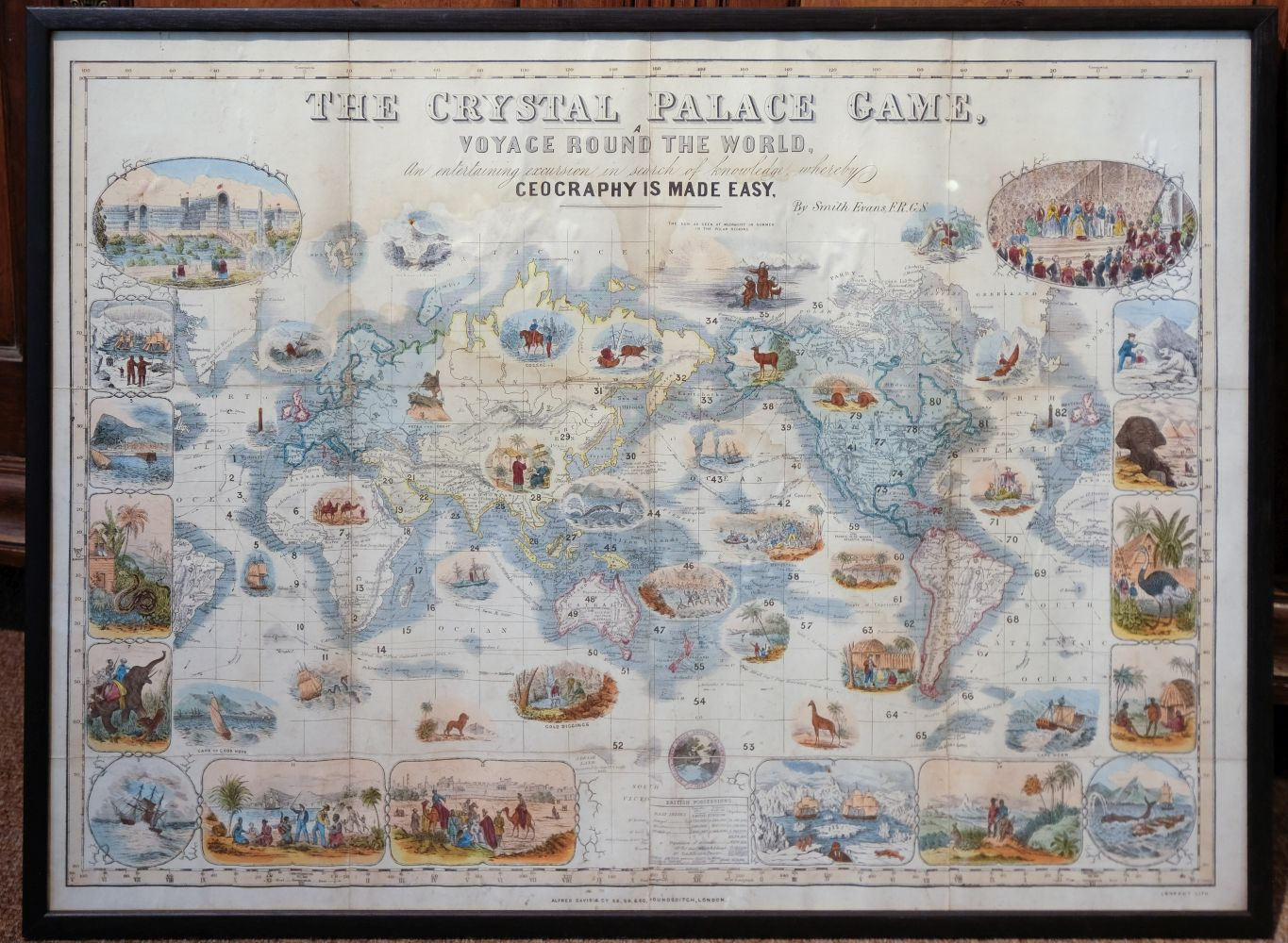 * World Map Board Game. The Crystal Palace Game, published by Alfred Davis & Co., [1855?] - Image 2 of 5