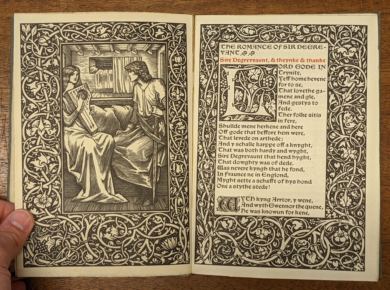 Kelmscott Press. The Romance of Sir Degrevant, 1896 - Image 5 of 8