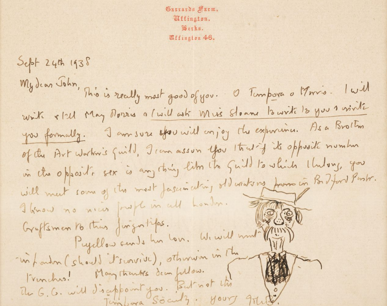 * Betjeman (John). Two autograph letters signed, 1938, with an original caricature - Image 3 of 3