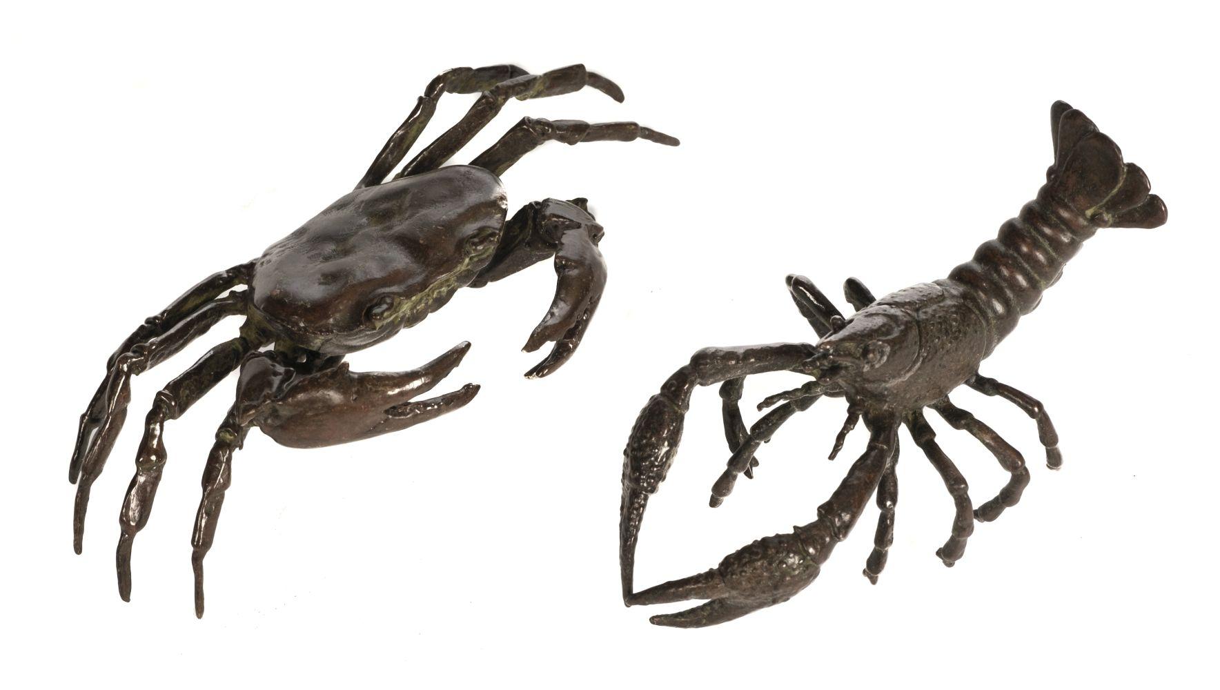 * Bronzes. Japanese bronze crab and lobster, Meiji period