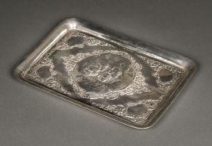 * Tray. Victorian silver tray by Henry Matthews, Birmingham 1901