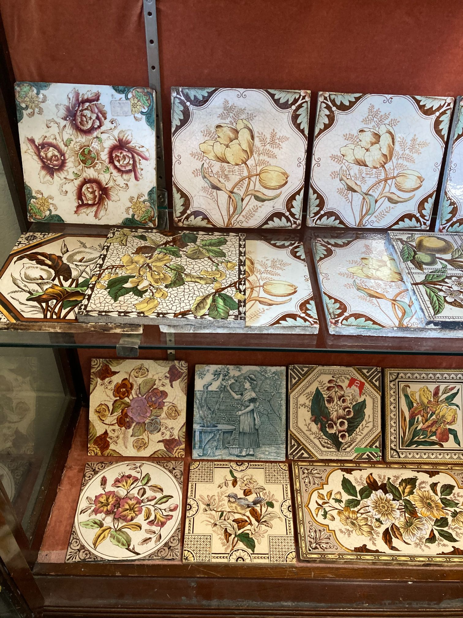 * Tiles. Mixed collection of Victorian pottery tiles - Image 3 of 6