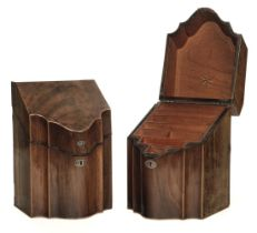 * Knife Boxes. Pair of George III mahogany knife boxes