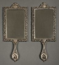 * Mirrors. Pair of Scottish silver hand mirrors by R & W Sorley, Glasgow, 1894