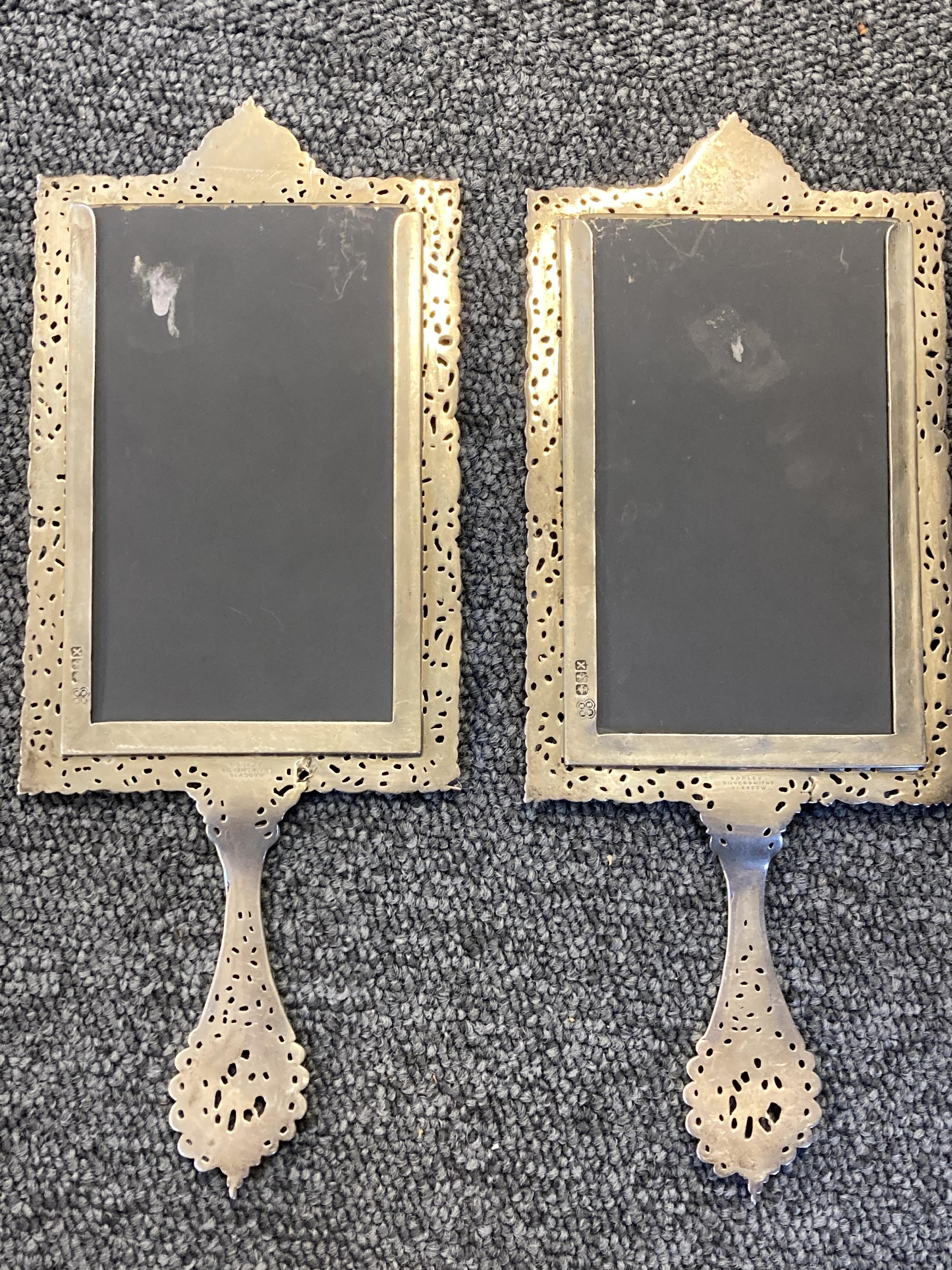 * Mirrors. Pair of Scottish silver hand mirrors by R & W Sorley, Glasgow, 1894 - Image 3 of 10