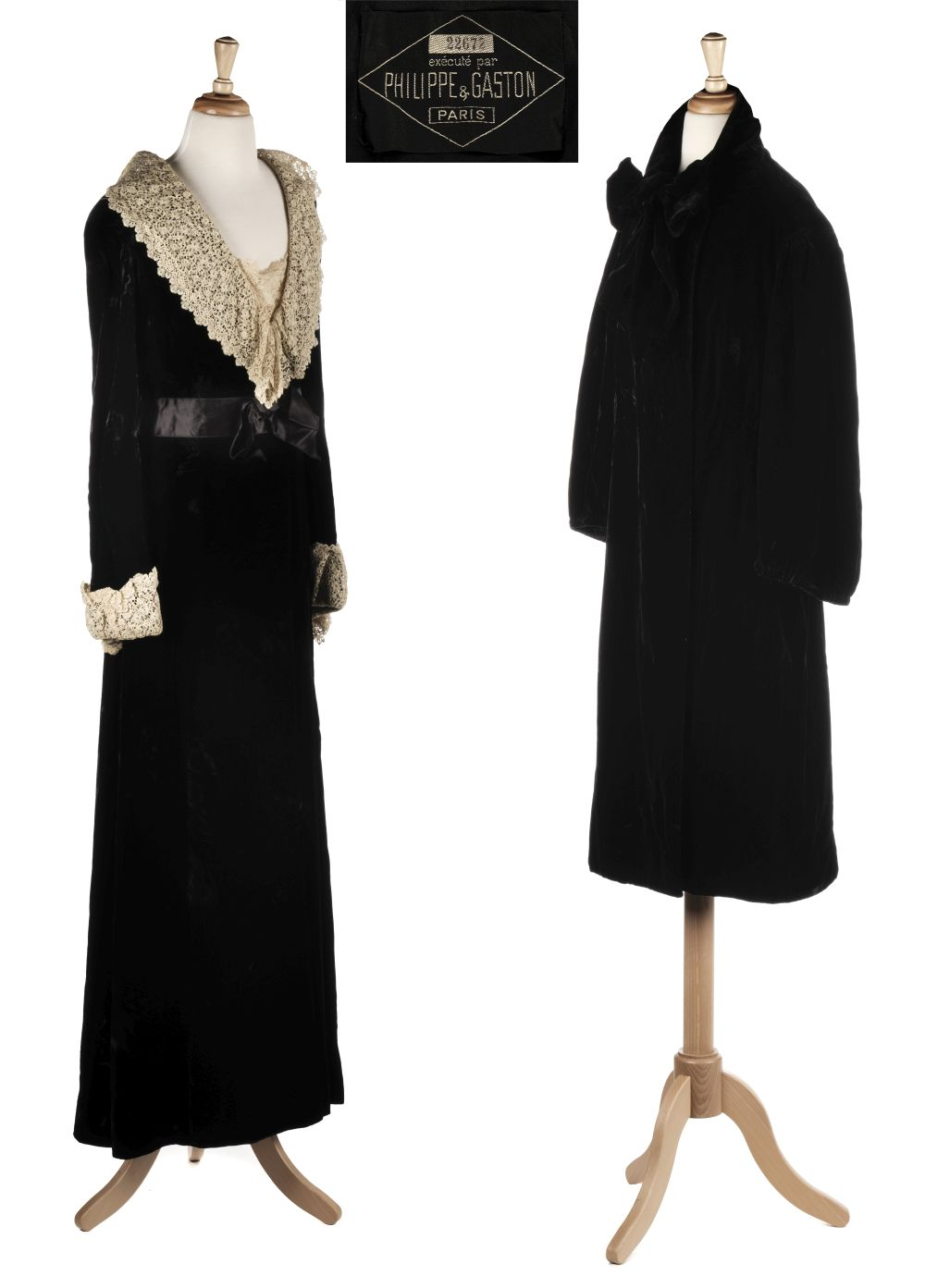 * Philippe et Gaston. A rare couture evening coat, Paris, 1930s, with dress