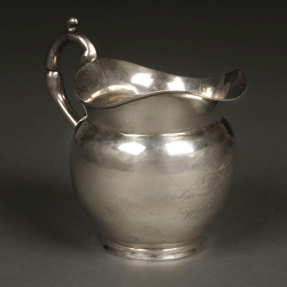 * American Silver. Presentation milk jug by John Crawford, New York circa 1815