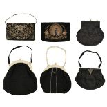 * Bags. Six early 20th century bags, and other accessories