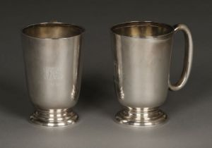 * Silver mugs, Walker & Hall, Sheffield 1930 and 1955
