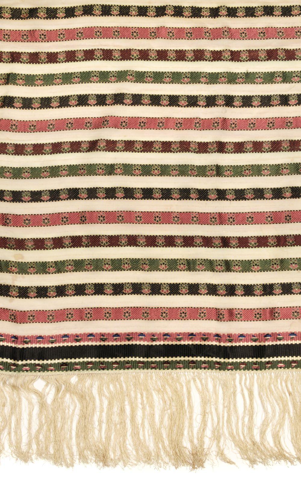 * Shawl. A woven silk satin and gauze shawl, circa 1810-1820