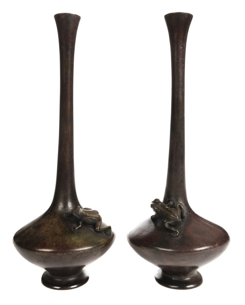* Vases. Pair of Japanese bronze vases, Meiji period