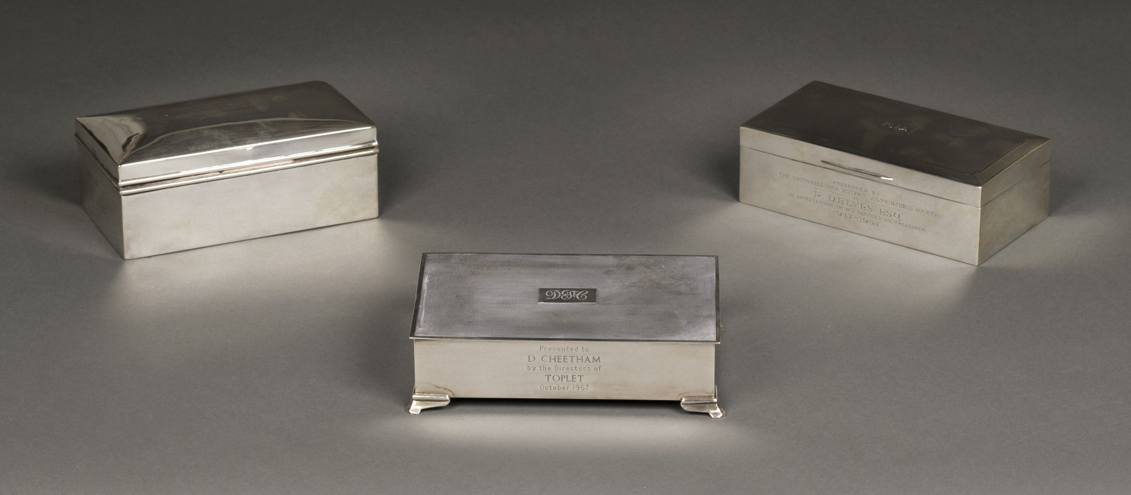 * Cigarette Boxes. Silver boxes