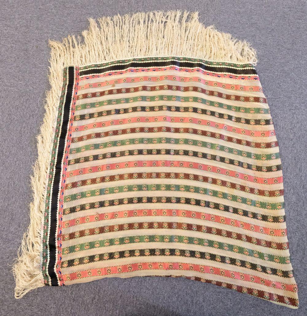* Shawl. A woven silk satin and gauze shawl, circa 1810-1820 - Image 4 of 7