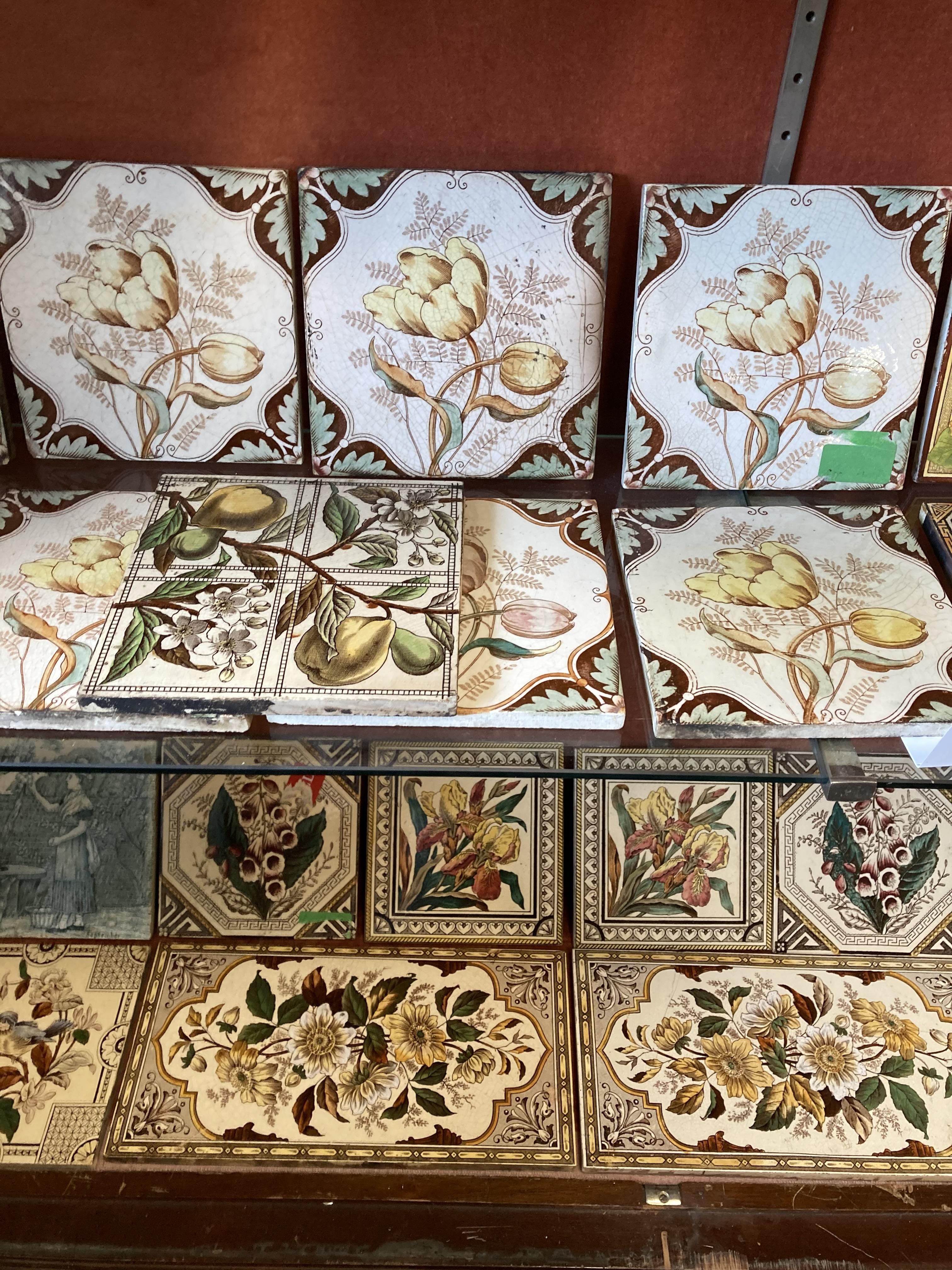 * Tiles. Mixed collection of Victorian pottery tiles - Image 4 of 6