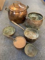 * Copperware. Victorian copper cauldron and other items