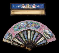 * Fan. A hand-painted fan, Chinese, mid 19th century