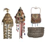 * Tribal. A large belt, possibly Indian, 19th century, plus festival headdresses and a purse
