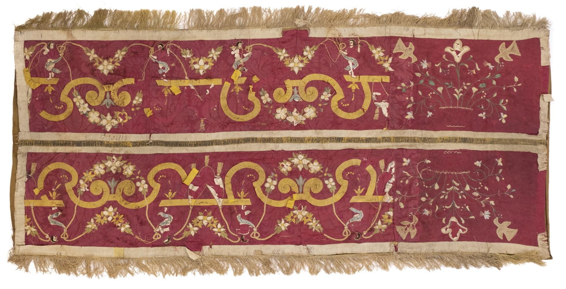 * Embroidered panel. An embroidered and appliqued panel, late 17th century