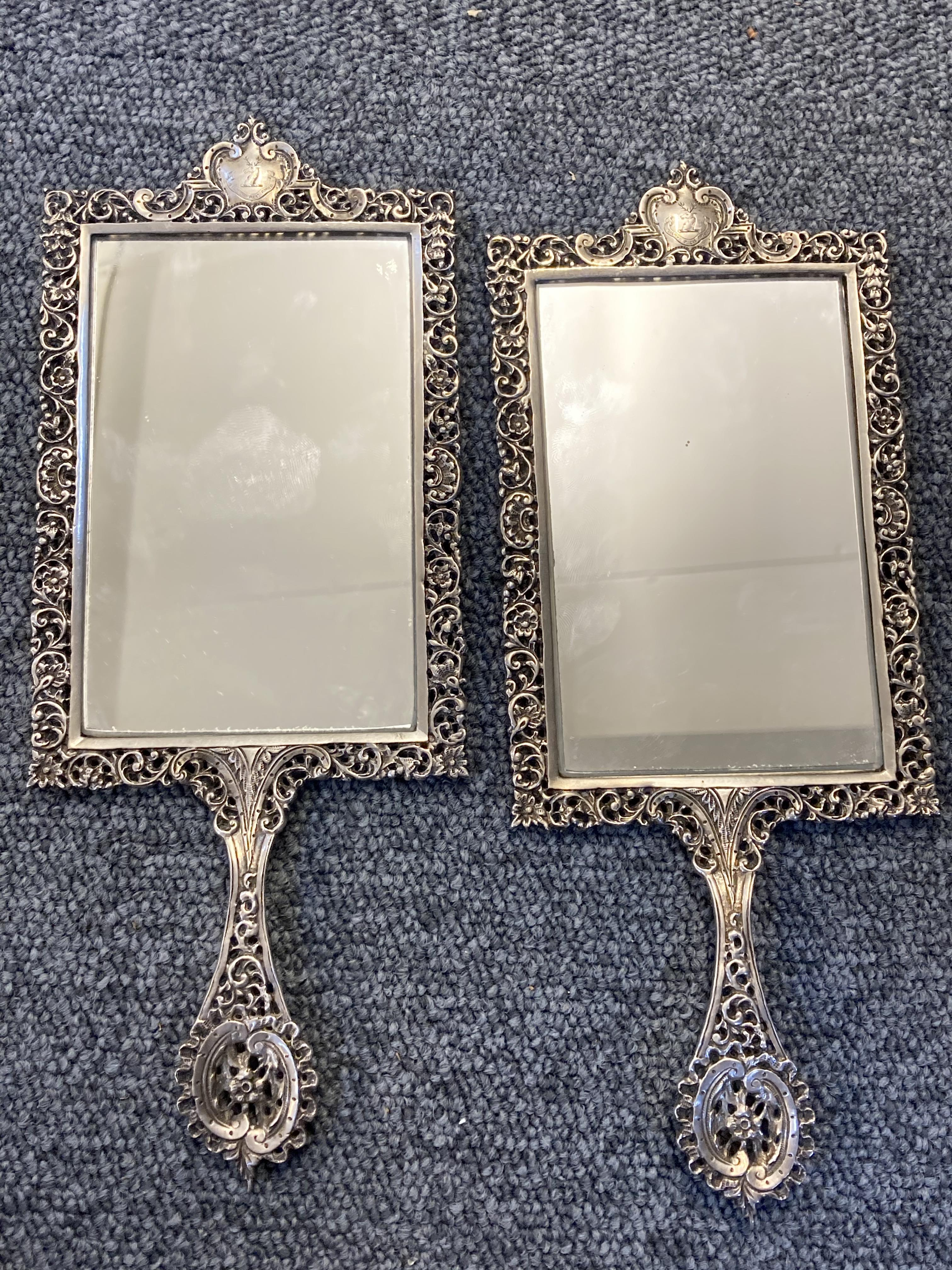 * Mirrors. Pair of Scottish silver hand mirrors by R & W Sorley, Glasgow, 1894 - Image 2 of 10