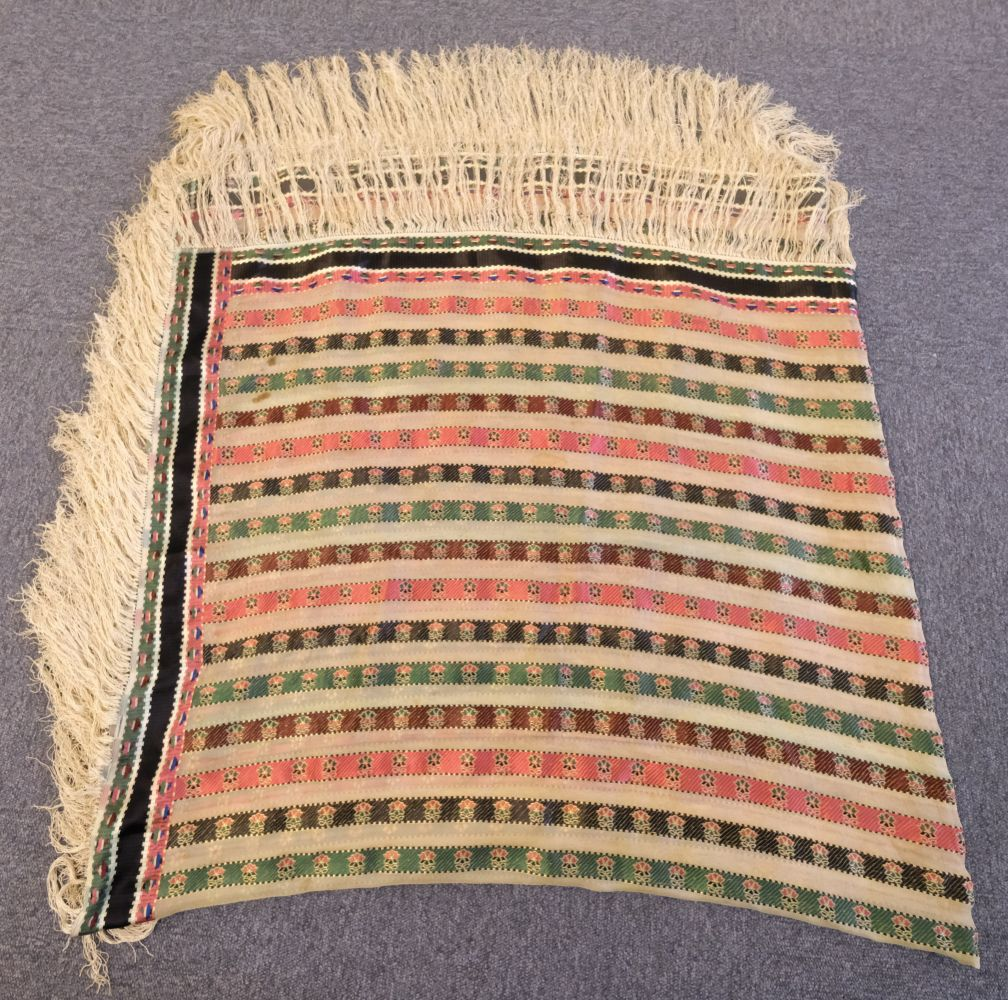 * Shawl. A woven silk satin and gauze shawl, circa 1810-1820 - Image 6 of 7
