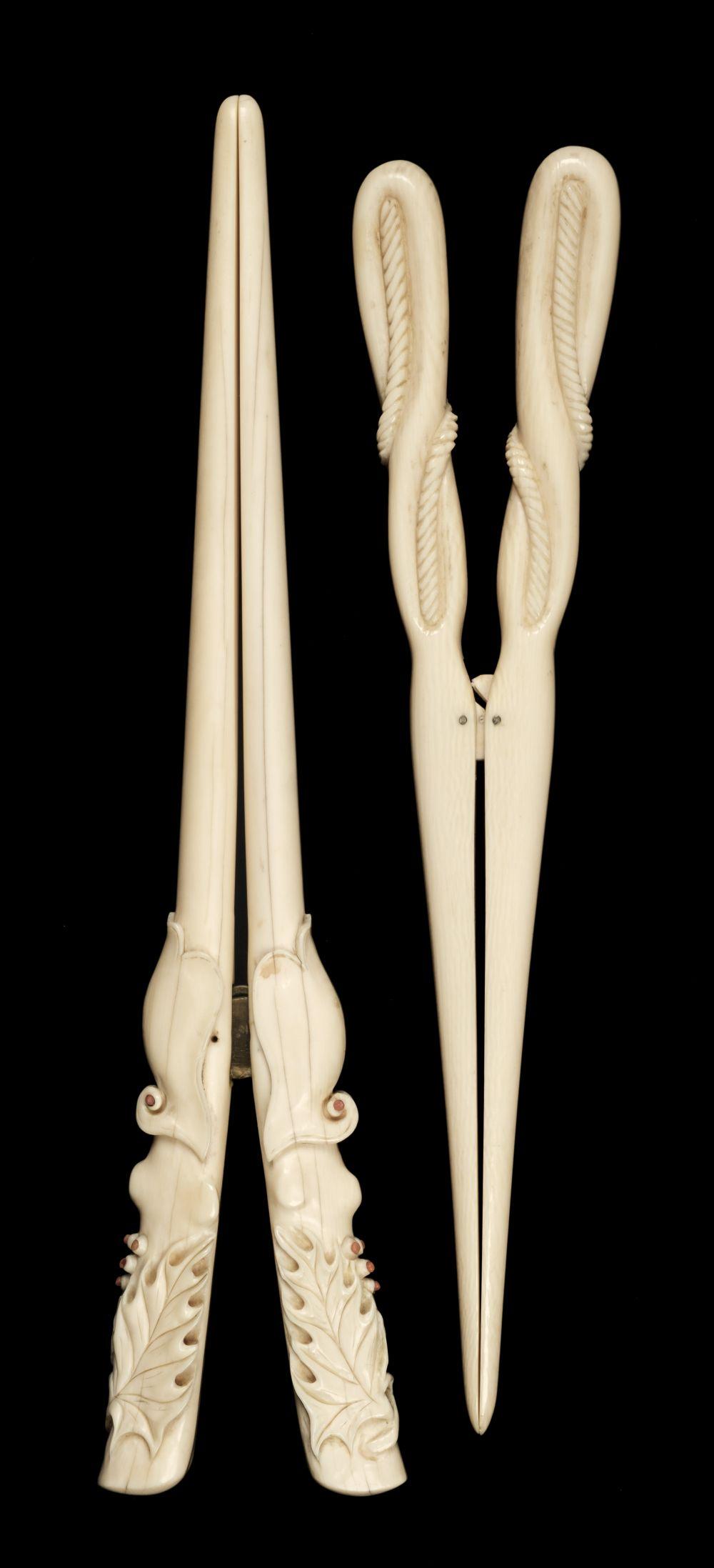 * Glove Stretchers, Victorian ivory glove stretchers
